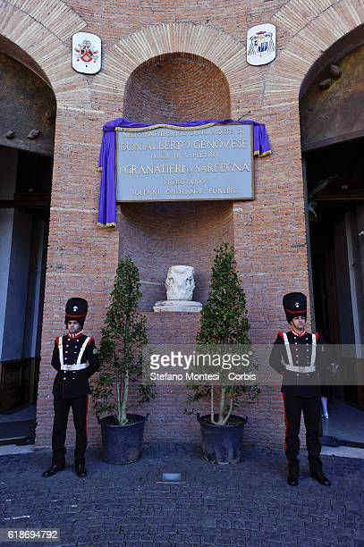 Two soldiers the Regiment of Sardinian Grenadiers by the front door the Basilica of St Mary of the Angels and the Martyrs where it is celebrated a...