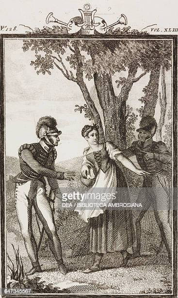 Two soldiers trying to take the basket from Lisetta engraving by Antonio Viviani from a drawing by G Steneri from The War Act II Scene 2 Comedies...