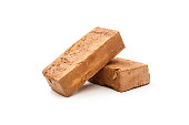 Red brick isolated on white background