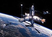 Two Spacecraft Is Preparing To Dock With Space Station. 3D Illustration.