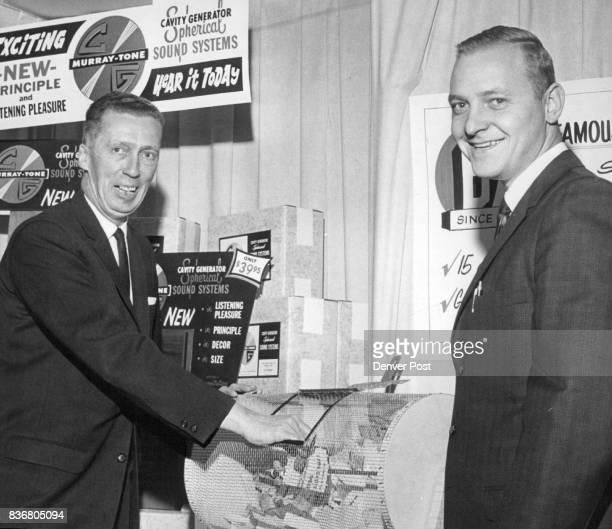 Two Speakers Go to Drawing Winner Willard C Wright left general manager of BurnsteinApplebee Co 1237 16th St and Kent Bertsch merchandising manager...