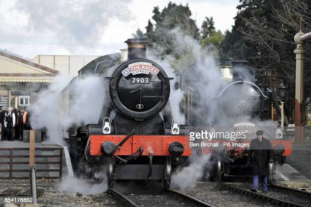 Two special steam train services wait at Toddington station for Cheltenham racegoers to board and transport them to the festival in style aboard the...