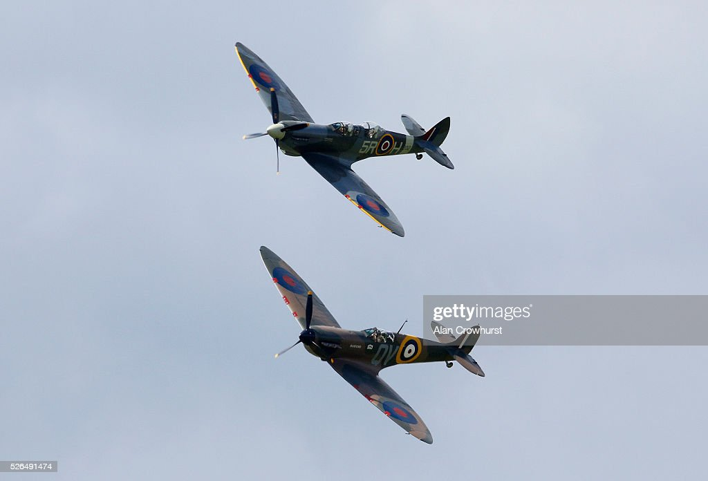 Two Spitfires fly over to celebrate 350 years of racing at Newmarket racecourse on April 30, 2016 in Newmarket, England.