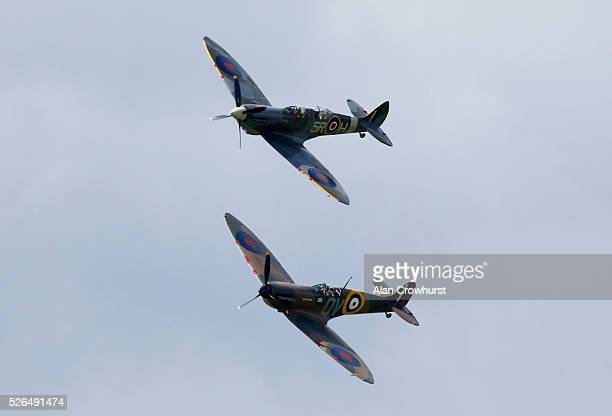 Two Spitfires fly over to celebrate 350 years of racing at Newmarket racecourse on April 30 2016 in Newmarket England