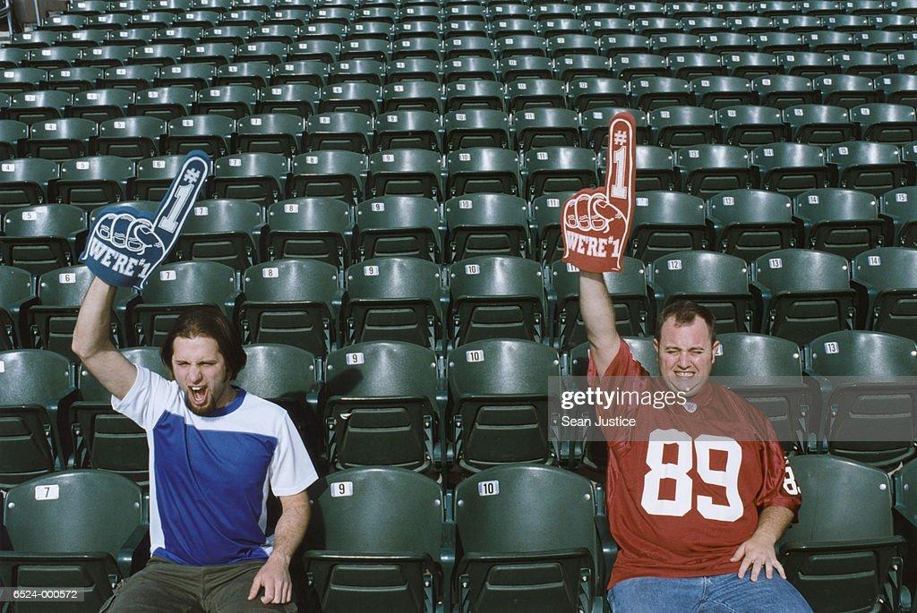 Two Sports Spectators : Stock Photo
