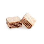 Two square wafer biscuits isolated on white background