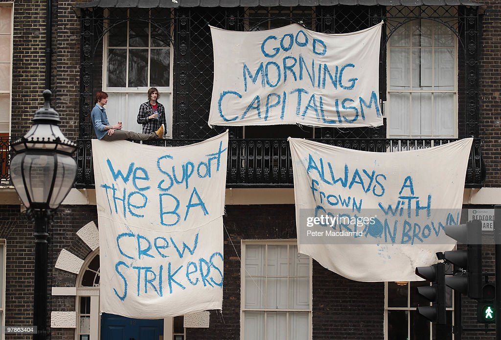Two squatters show their support for striking British Airways cabin crew round the corner from the Trades Union Congress building on March 19, 2010 in London, England. The planned three day strike by BA cabin crew this weekend will now go ahead as talks between the airline and the union Unite collapsed earlier today.