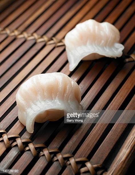 two steamed shrimp dumplings