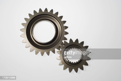 Two steel gears in mesh isolated