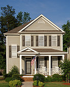 Two story home with American flag