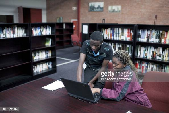 Two students work on a project in the library at the African Leadership Academy on June 2 2010 in Honeydew west of Johannesburg South Africa ALA is a...
