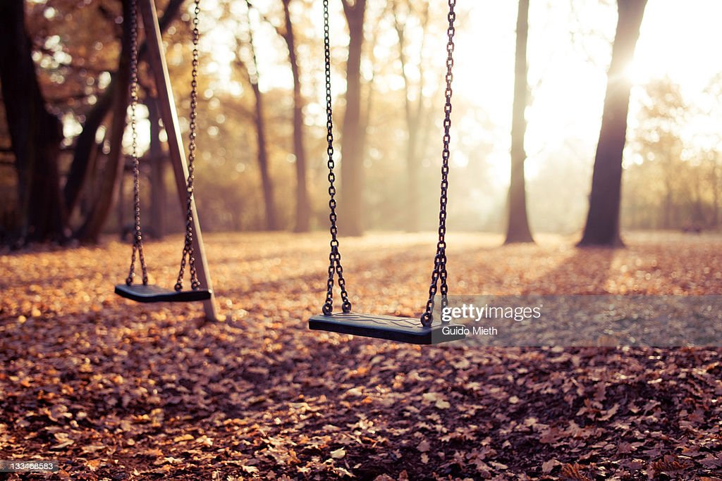 Two swings on playground in sunlight