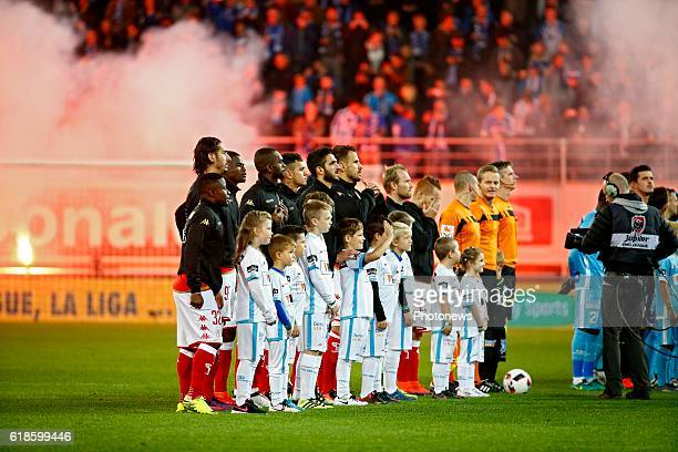 two teams before the Jupiler Pro League match between KAA Gent and Standard de Liege in the Ghelamco Arena stadium on october 27 2016 in Gent Belgium