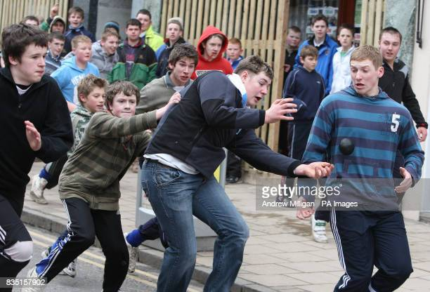 Two teams take part in the annual HandBa' match held in the streets of Jedburgh to celebrate the Fastern Eve HandBa festival
