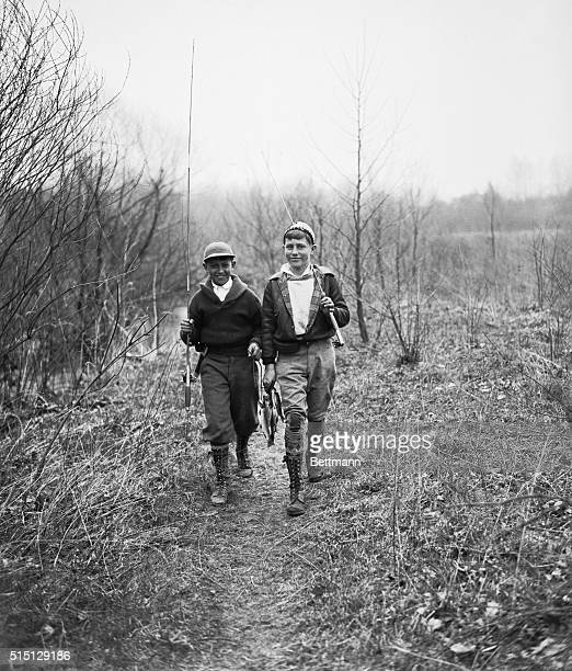 Two teenage boys with cought fish Hohokus New Jersey USA April 15 1933
