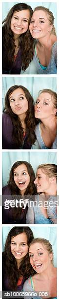Two teenage girls (14-17) in photo booth