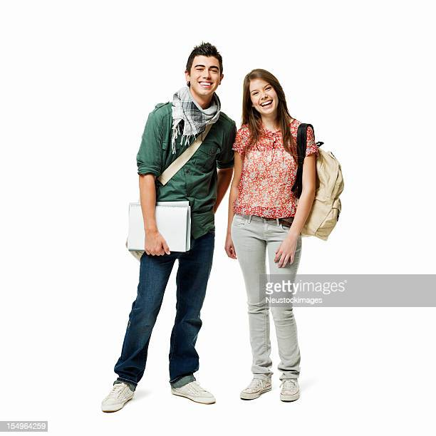Two Teenage Students - Isolated