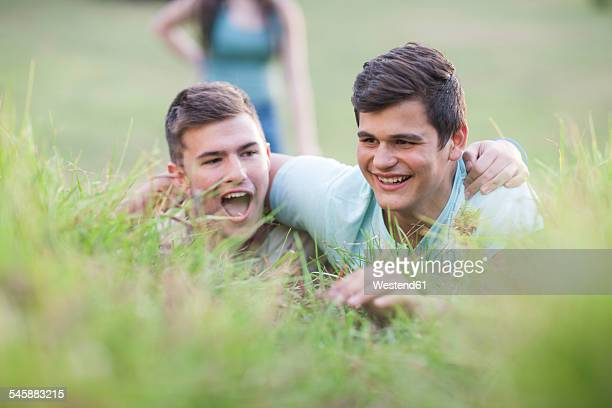 Two teenagers on a meadow