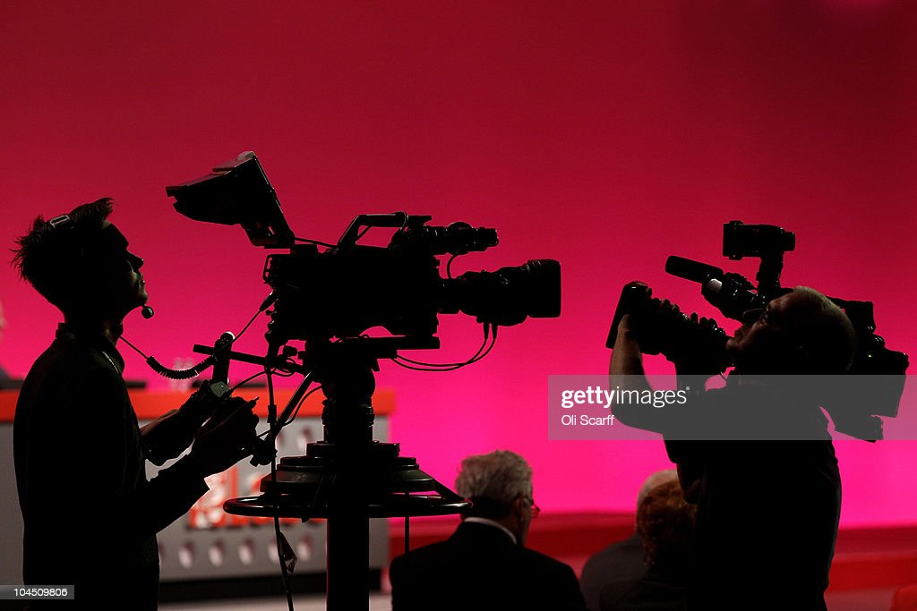 Two television cameras film each other on the third day of the Labour party conference on September 28, 2010 in Manchester, England. On the fourth day of his leadership Ed Miliband called on members to move forward into a new era and that he is part of a new generation and is set to move away from Brown and Blair era.