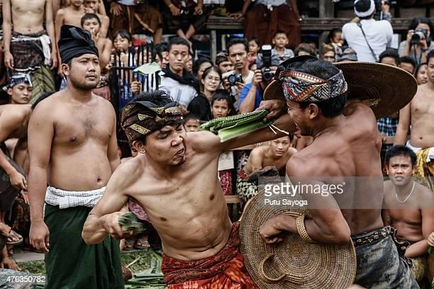 Two Tengananese men fight each other using thorny pandanus leaves on June 8 2015 in Tenganan Pagringsingan Village Karangasem Bali Indonesia Every...