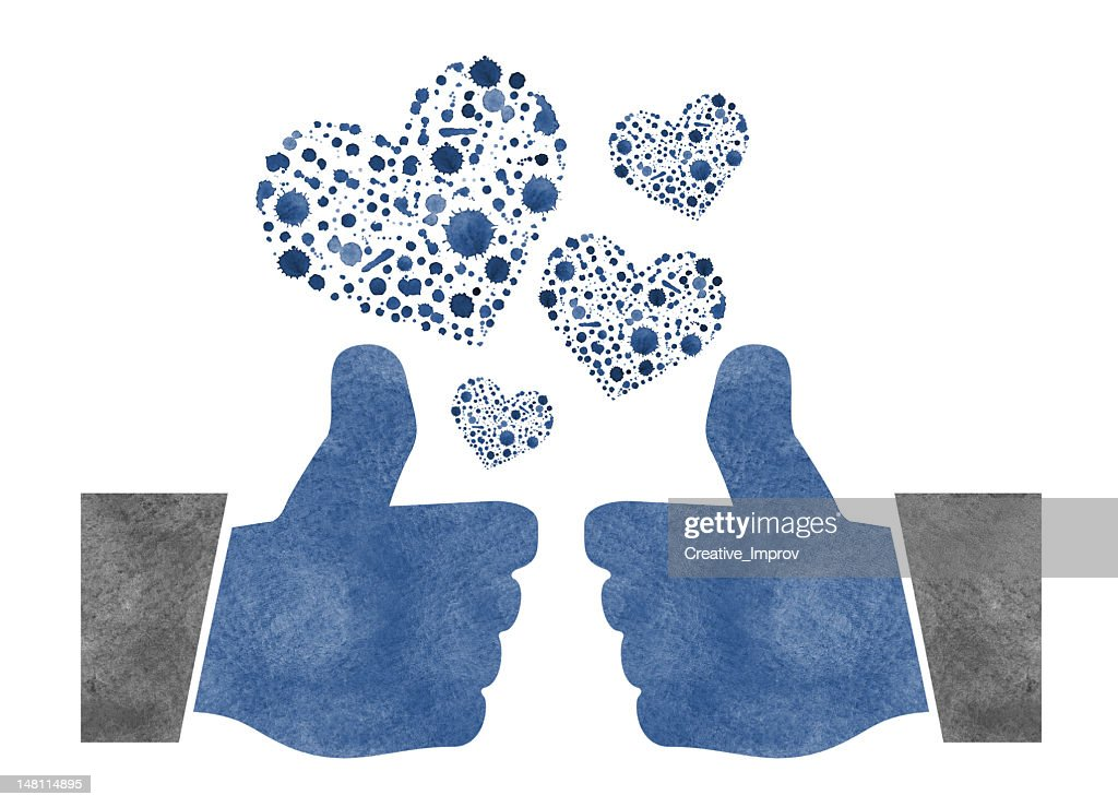 Two Thumbs Up with Watercolor Hearts : Stock Photo