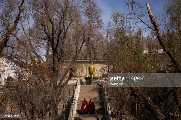 Two Tibetan buddhist monks Lower step in the courtyard of the Kumbum Monastery on April 23 2017 in Xining Qinghai Province Kumbum was founded in 1583...