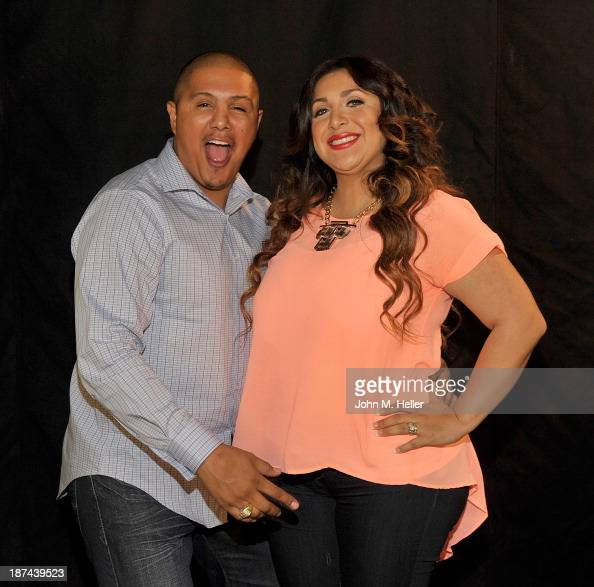 Two time world champion boxer Fernando Vargas and his wife Martha Lopez Vargas pose for pictures at the Getty Images offices on November 8 2013 in...