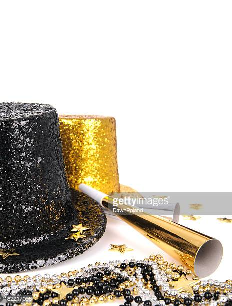 Two top hats and horns for New Year's Eve