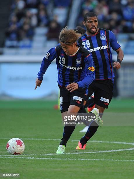 Two top of Gamba OsakaTakashi Usami and Patric in action during the Emperor's Cup final match between Gamba Osaka and Montedio Yamagata at Nissan...