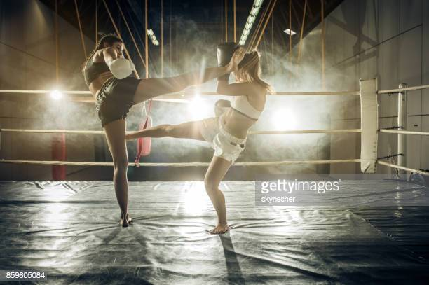 Two tough women dueling in a fighting ring.