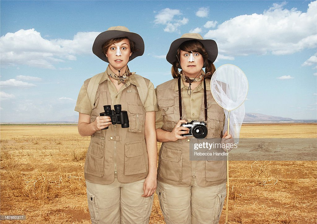 Two tourist girls on a Safari : Stock Photo