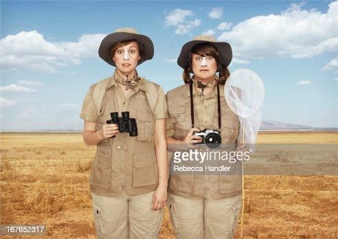 Two tourist girls on a Safari : Stock Photo