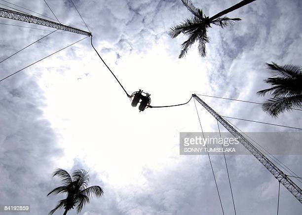 Two tourists enjoy a slingshot ride in Kuta on a resort island of Bali on January 7 2009 Indonesia is targeting 68 million foreign tourist visitors...