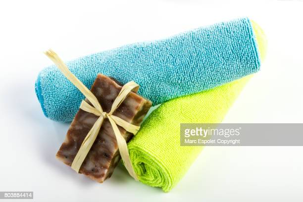 Two towels and a bar of soap