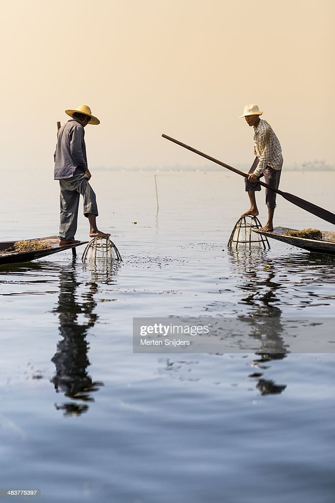 Two traditional Inle lake fishermen
