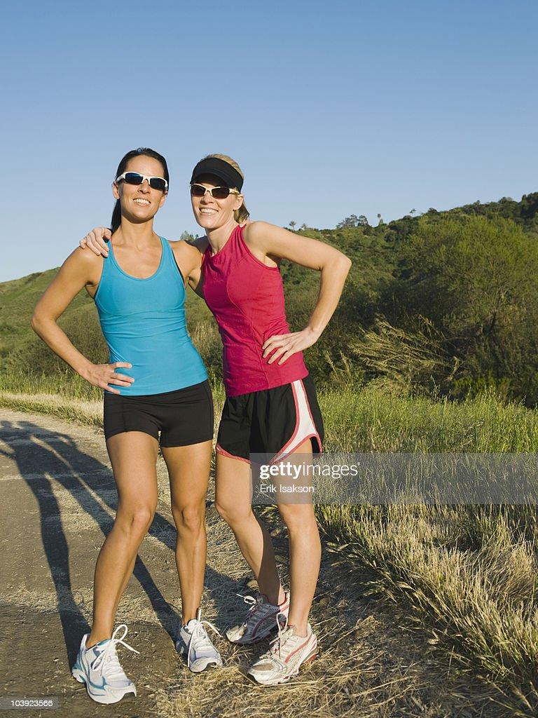 Two trail runners taking a break
