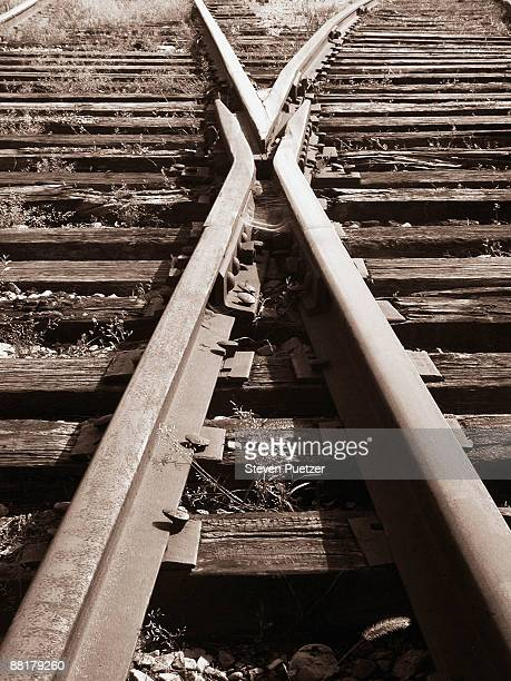 Two train tracks crossing