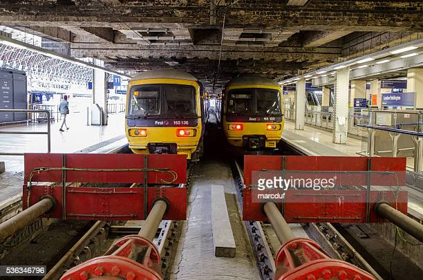 Two trains at the Paddington Station