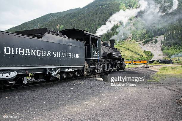 Two trains Durango and Silverton Narrow Gauge Railroad featuring Steam Engine Silverton Colorado