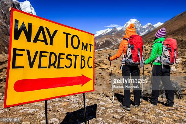 Two trekkers on the way to Everest Base Camp