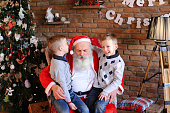 Lovely boys of same appearance sit on lap Santa Claus who sits large and soft armchair whisper in ear cherished wishes for New Year cozy spacious room decorated Years holidays with floor lamp, walls w