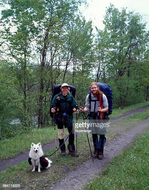 Two twolegged hikers and one fourlegged one on the Appalachian Trail Damascus Virginia