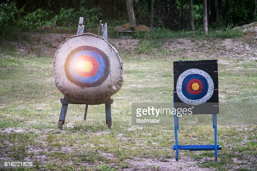 two type of Archery target on the field : Stock Photo