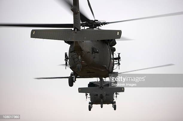 Two UH-60 Black Hawks underway on a mission over northern Iraq.