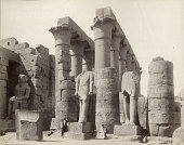 Two unidentified men pose in temple ruins Luxor Egypt circa 1881