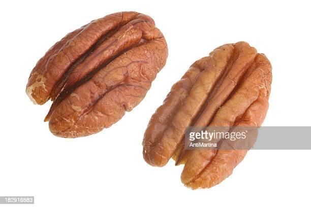pecan Nüsse, isoliert auf weiss