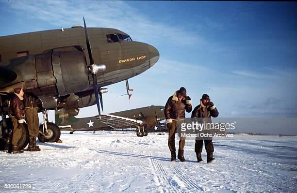 Two US Airmen walks down the tarmac on the US Air Base in Goose BayLabrador NewfoundlandCanada