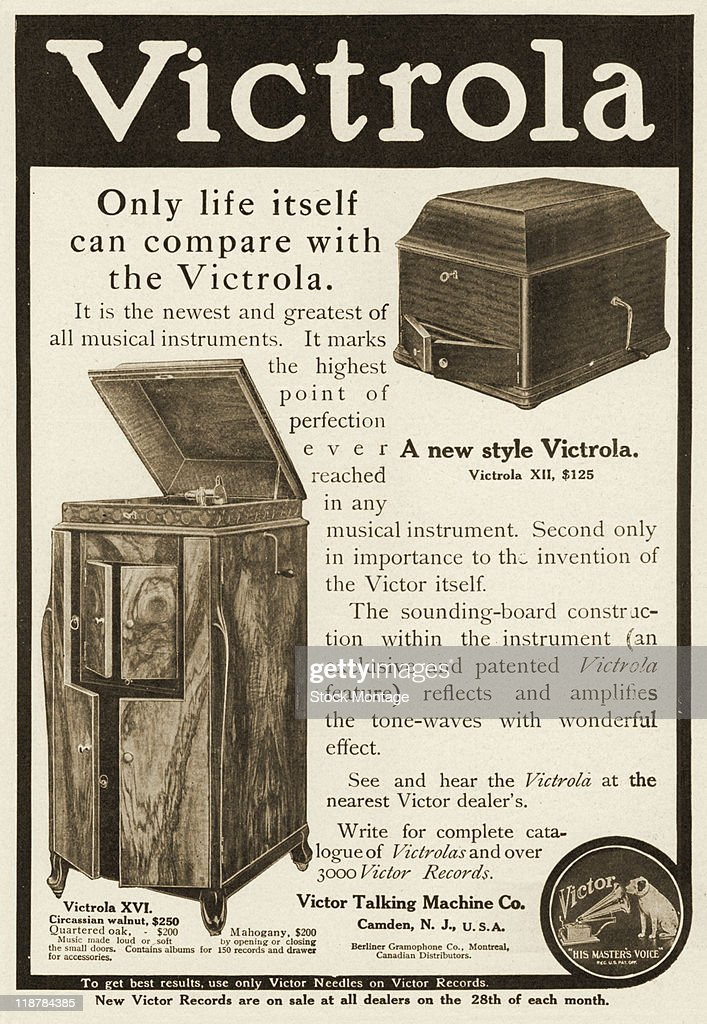 Two Victrola phonographs are shown in a magazine advertisement 1909 The headline states 'Only life itself can compare with the Victrola' The music...