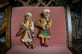 Two vintage arts & craft water bearers in thrift farmyard sale