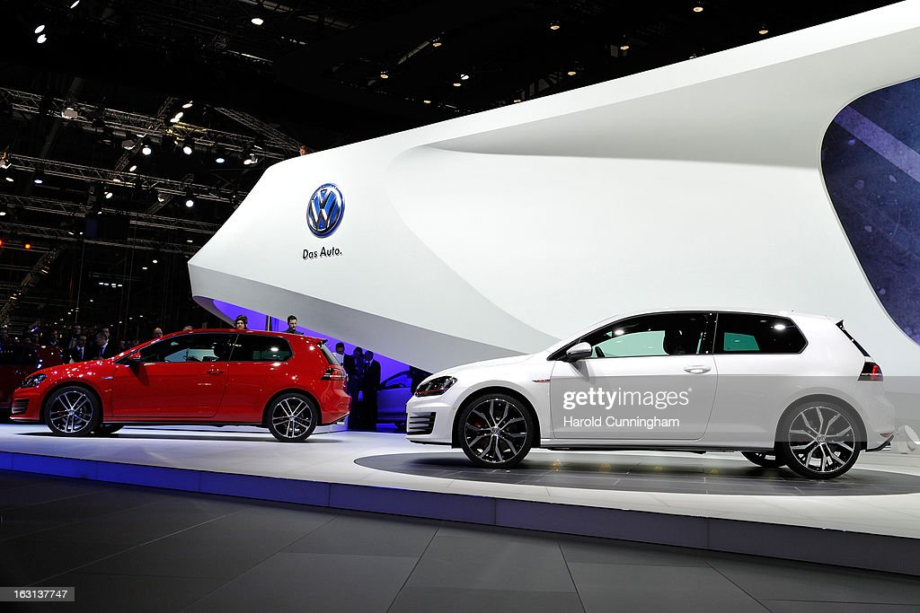 Two VW Golf, named European Car of the Year 2013, are seen during the 83rd Geneva Motor Show on March 5, 2013 in Geneva, Switzerland. Held annually the Geneva Motor Show is one of the world's five most important auto shows with this year's event due to unveil more than 130 new products.
